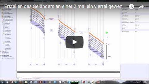 Erstellen des Geländers an einer 2x ¼ gewendelten Treppe mit TREPCAD 7