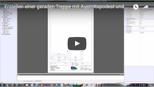 Erstellen einer geraden Treppe mit Austrittspodest und Normstufen mit TREPCAD 7