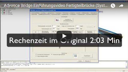 Advance Bridge Einführungsvideo Fertigteilbrücke (Systemeingabe Teil 2)